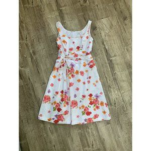 Liz Claiborne Sleeveless Floral White Pink Summer Dress Gathered Belt size 4